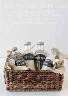Homemade Vanilla Kit Gift with  Vanilla Extract, Vanilla Bean Sugar, Vanilla Bean Simple Syrup and French Vanilla Coffee Creamer
