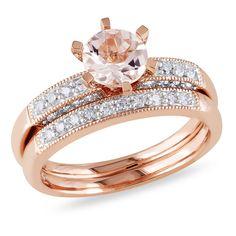 10k Pink Gold Round I2-I3 Diamond & Morganite Ring, 1/3 ctw
