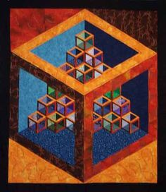 """Seeing What's Inside"" by Mary Breckeen at Key West Quilts. Shadow quilt challenge based on Sara Nephew's empty cube block."