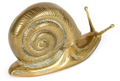One Kings Lane - Ivy and Vine - Brass Snail Paperweight: 7.5''L x 3.75''W x 5''H
