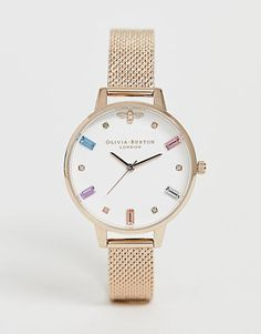 Shop Olivia Burton Rainbow Bee mesh watch at ASOS. Stylish Watches For Girls, Casual Watches, Olivia Burton, Sport Watches, Gold Watch, Bracelet Watch, Asos, Bee, Rose Gold