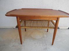 Mid Century Danish Modern Wood Table Poul Jensen SELIG Denmark Teak Cane Shelf  #SeligofDenmark