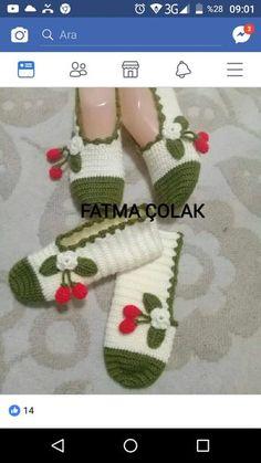 HUZUR SOKAĞI (Yaşamaya Değer Hobiler) Crochet Skirt Pattern, Crochet Slipper Pattern, Crochet Shirt, Crochet Slippers, Crochet Baby, Knit Crochet, Knitting Socks, Baby Knitting, Homemade Shoes