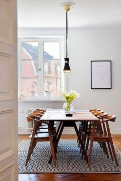 Stunning Picture for Choosing the Perfect Kitchen Rugs - Midcentury modern dining chairs, Mid century modern dining room, Mid century dining room, Modern dining chairs, Farmhouse dining room table - Mid Century Modern Dining Room, Modern Dining Chairs, Mid Century Dining Table, Dinning Chairs, Outdoor Dining, Farmhouse Dining Room Table, Dining Room Furniture, Rug Under Dining Table, Room Chairs