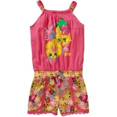 Shopkins Girls' Aloha Romper, Red
