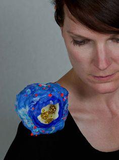 Katharina Moch  Brooch: Untitled 2012  Plastic, cz, magnets  10 x 12 x 12 cm  Photo by Daniel Grogels