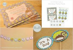 DIY PARTY PACK Printable Monkey Baby Shower Boy by eventsthatcharm, $32.00