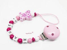 Schnullerkette Teddy Wunschname Name Baby md105 von myduttel auf DaWanda.com