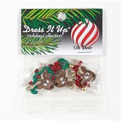 Dress It Up ~ Where/'s The Sleigh 7492~ Reindeer ~ Sewing Jesse James Buttons