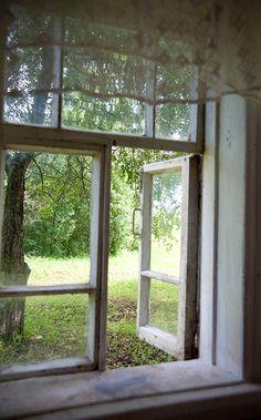 ..da una finestra di una casa in campagna