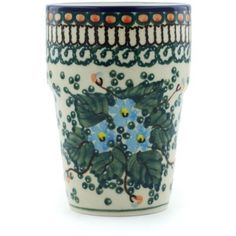 Polish Pottery Tumbler 7 oz Emerald Berries UNIKAT ** Clicking on the VISIT button will lead you to find similar pottery product