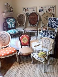 Eclectic Dining Chairs- for a single office/desk chair maybe?