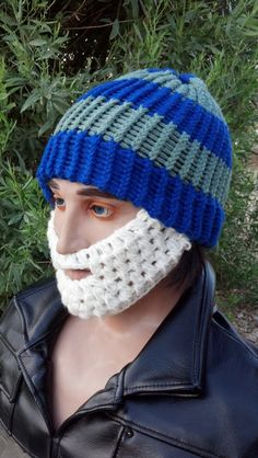 Blue and Pale Green Beard Beanie w/ Detachable by HolyNoggins, $35.00