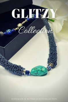 Beautiful choker , handmade weaving glass beads, Turquoise paste central stone and 2 square LAPIS LAZULI pearls By GLITZY .