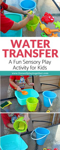 This fun water transfer activity is easy to set up and fun to play. Great water play and sensory play activity for kids that also encourages the development of fine motor skills. #playbasedlearning #homeschool #preschool #toddleractivites #stemlearning #stemforkids #waterplay #sensorybins #scienceforkids