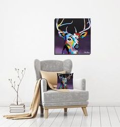 Deer Canvas in striking colours to complement neutral colours in a room