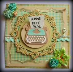 Card made by DT member Nadège with Craftables Anja's Flowers (CR1273), Creatables Petra's Circle and Crown (LR0317) and Collectables Eline's Typewriter (COL1358) by Marianne Design