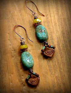 Copper Wrapped Turquoise Pods with Tiny by AllowingArtDesigns, $19.00