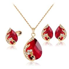 Jewelry Sets High-Grade Crystal Peacock Fine Ruby Jewelry Sets Bride Wedding Necklace #PeacockGoldJewellery