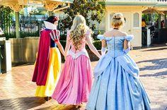 The 3 classic Disney Princesses; Snow White, Aurora, and Cinderella