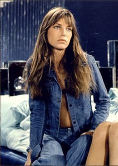 Jane Birkin, denim shirt, denim jeans