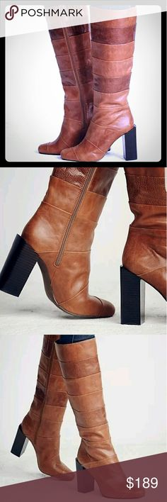 """Jeffrey Campbell & Free People ♡ JC & FP """"Mariana knee boot"""". These boots are so beautiful to the eye. Rich italian leather, Brand new. Never worn. ?Striped block-heel tall boots with a texture-block design and facing side zip for easy closure ♡. Jeffrey Campbell Shoes Over the Knee Boots"""