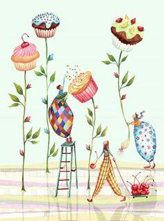 Cupcakes Plants Illustration - Very Original Art And Illustration, Illustration Mignonne, Food Illustrations, Cupcake Illustration, Art Fantaisiste, Cupcake Art, Arte Sketchbook, Whimsical Art, Art Drawings