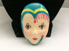 ARTISAN MARKED TEAL & PINK CLOWN/PERFORMING WOMAN RESIN UNIQUE BROOCH