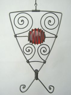 Metal Sculpture / Triangular Wire Pendant In Red