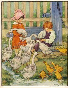 Clara Burd illustration - children feeding ducks and geese.