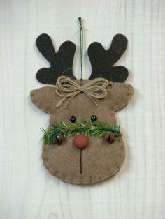 Tree Trimmers Too! : Rustic Reindeer - DITCH THE GREENS ACROSS THE FACE, PUT THE BELLS ON THE TWINE BOW AND USE A SMALL CIRCLE IN THE DARKER BROWN TO MAKE CHEEKS. CUTE!