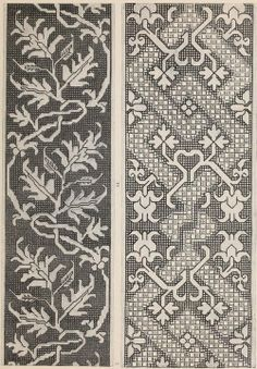 Vine border embroidery patterns, from a public domain ebook. Download here in epub, kindle or pdf format: https://archive.org/stream/musteraltitalien00lip