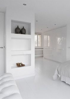 Swiss sense bedroom inspiration Look for more box spring and bed linen … Shelves, Recessed Shelves Living Room, Home, Home Bedroom, White Floors, Recessed Shelves, House Interior, White Interior, Home And Living