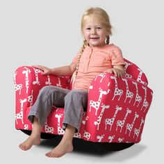 Noble House Valentine Rocking Kids Club Chair In Pink & White - Beyond the Rack