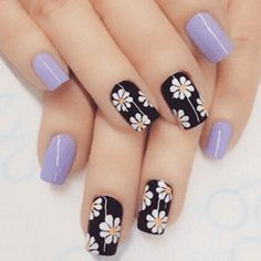 Flower nail art design Girls are more and more obsessed with decorating their nails, so if you were looking for some fresh nail designs this season, take a look. Enjoy in Photos! Simple Nail Art Designs, Flower Nail Designs, Flower Nail Art, Easy Nail Art, Trendy Nails, Cute Nails, Nagel Gel, Fabulous Nails, Gorgeous Nails