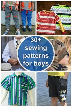 Sewing patterns for boys. Things to sew for boys. Free sewing patterns for boys clothes. More than 30 sewing patterns for things to sew for boys. Includes shorts, pants, shirts, t-shirts, Toddler Sewing Patterns, Kids Clothes Patterns, Sewing Kids Clothes, Clothing Patterns, Kids Clothing, Pattern Sewing, Sewing Pants, Crochet Pattern, Free Pattern