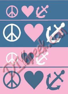 """delta gamma peace, love  Paint these with our new stencils sold separately $3.99 and the stencils in the DG supply sack. Height 1"""" and 1.5"""". Lots of color options!"""