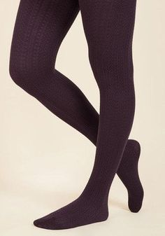 #AdoreWe #ModCloth ModCloth Cable for Discussion Tights in Plum - AdoreWe.com