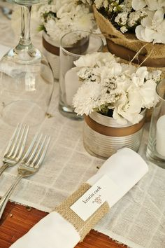 Rustic wedding table decor - aluminum can with ribbon for flowers or candle