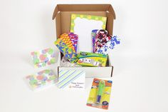 We're sure our teachers are loving their June Boxes! Here's a sneak peek: Power Pen & Power Pen Learning Cards (Math Skills), Funky Foam Bookmarks for the students' summer reading, Happy Suns Computer Paper, and Thank You Cards just in time for EOY, designed by badartwork.com. #teachers #subscriptionbox #classroomresources
