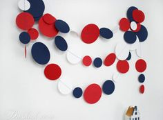 ~ Nautical Party Garland, Blue Red White Wall Decor, Boys Room Decoration ~  Add a glamorous touch to your party with this Nautical paper garland! You can decorate any space with it - not only the party walls or table, but your bedroom, kids room, living room or even your workspace. This totally handmade paper garland consists of numerous circles, made of blue, red and white cardstock, stitched together with threat in suitable color.  ----- Size of the circles: 8cm, 6cm and 4cm Length: You…