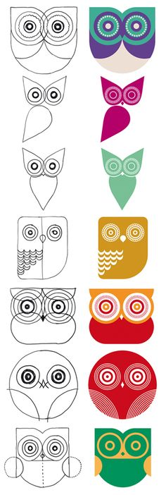 Owl patterns for polymer clay cane inspirations. Buho Visual Identity by Patricio Murphy,