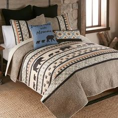 A Black Forest Décor Exclusive - Bands of bears, pawprints and intricate geometrics adorn this sophisticated 100% cotton bedding in warm neutrals. Cotton-poly blend fill. Sets include quilt and two shams (twin has one; king has king shams). Machine wash. Allow 1 to 2 weeks. Cotton Bedding, Quilt Bedding, Bedding Sets, Quilt Sets Queen, Black Forest Decor, Rustic Bedding, Blanket Cover, Western Decor, Bedding Collections