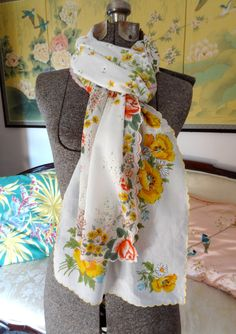 Mostly Yellow Vintage Hankie Scarf