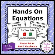 This set of Hands On Equations Posters illustrates the terms and vocabulary used in teaching Hands On Equations. This set includes 3 full sets - each with a different border style in black and white. Color borders can be provided upon request. We have used these posters in our own classrooms and our students love them.