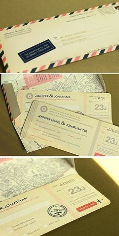 airmail postage tickets invite