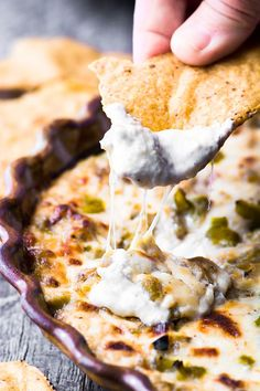Cheesy Hatch Green Chile Dip is the perfect kick-off to any fall gathering... | theviewfromgreatisland.com