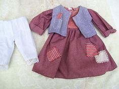 Alte-Puppenkleidung-Patches-Dress-Vest-Outfit-vintage-Doll-clothes-40-cm-Girl