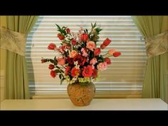 How to Arrange Silk Flowers Tutorial.  Different Styles of Flower Arrang...
