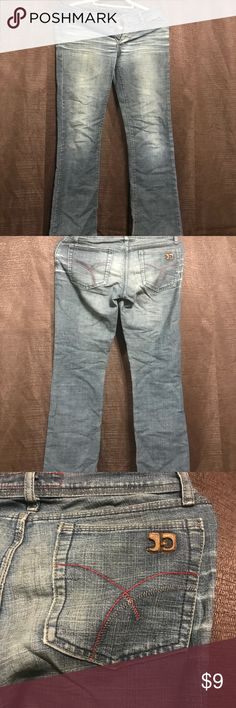 Joes Jeans 👖 denim flare jeans Nice denim jeans  Red seams on back pocket Buttons in front Used in good condition Joe's Jeans Jeans Flare & Wide Leg